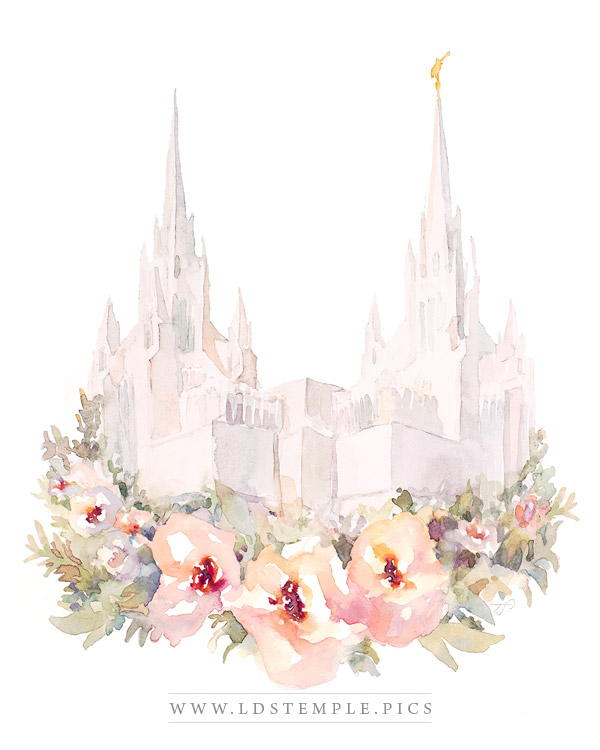 San Diego Temple Floral Watercolor Painting Print