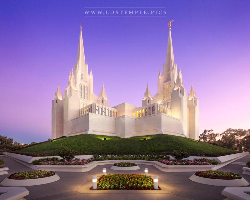 San Diego Temple Pastel Sunrise Print