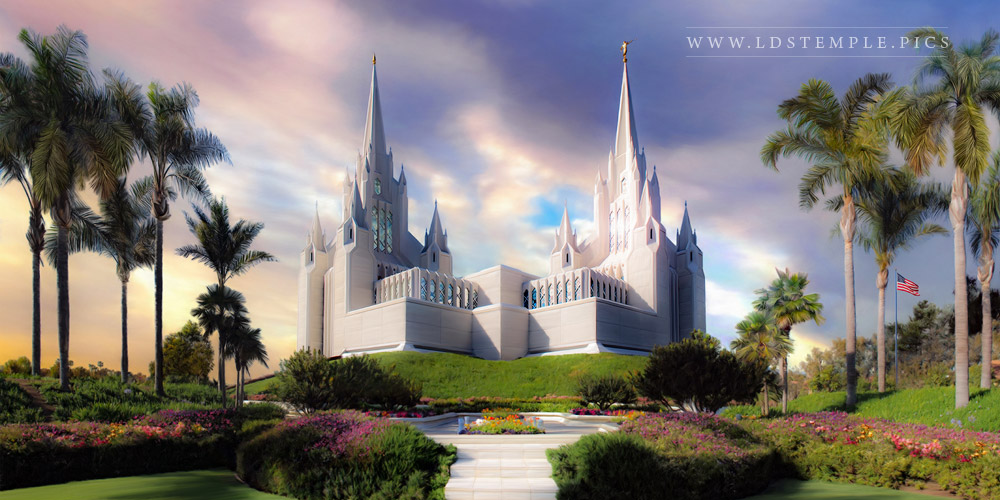 San Diego Temple Sunset Painting Print