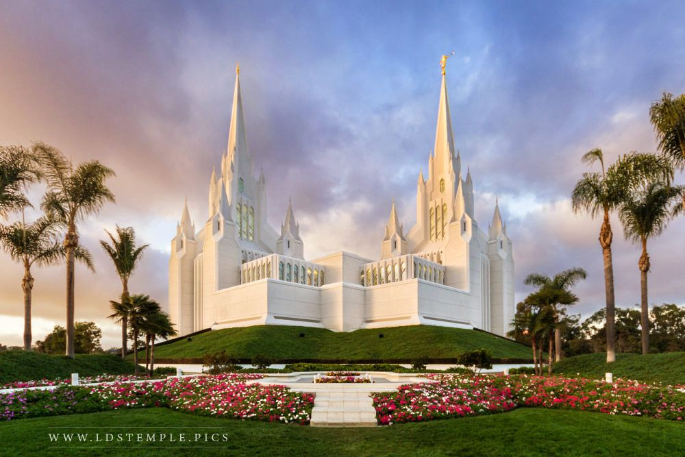 San Diego Temple Sunset Print