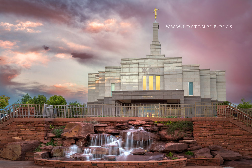 Snowflake Temple Sunset & Waterfall Print