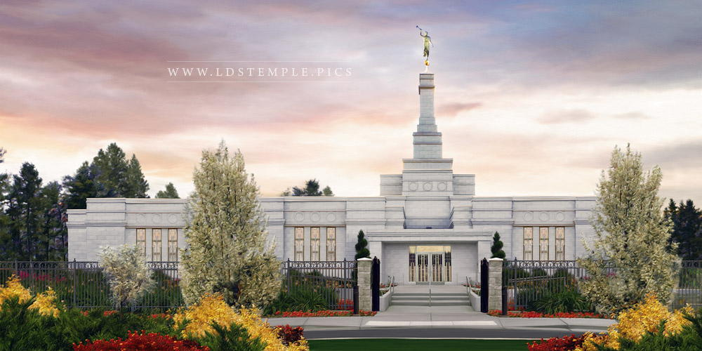 Spokane Temple Sunrise Painting Print