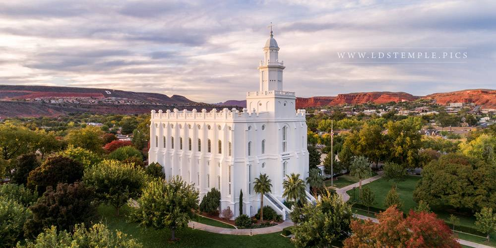 St. George Temple Canyon View Print