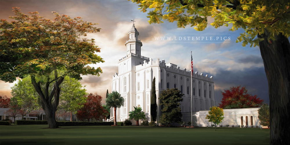 St George Temple Changing Seasons Painting Print
