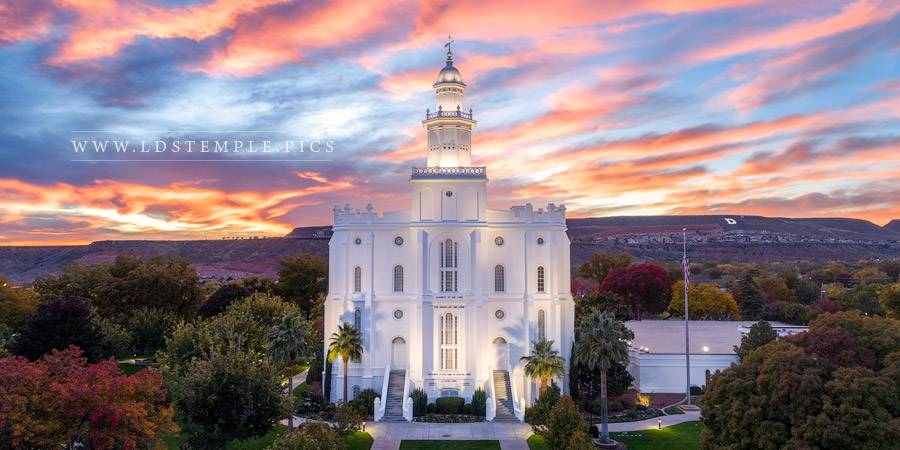 St. George Temple Greater Heights Sunset Print