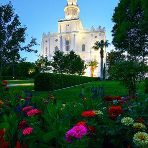 st-george-temple-twilight-flowers
