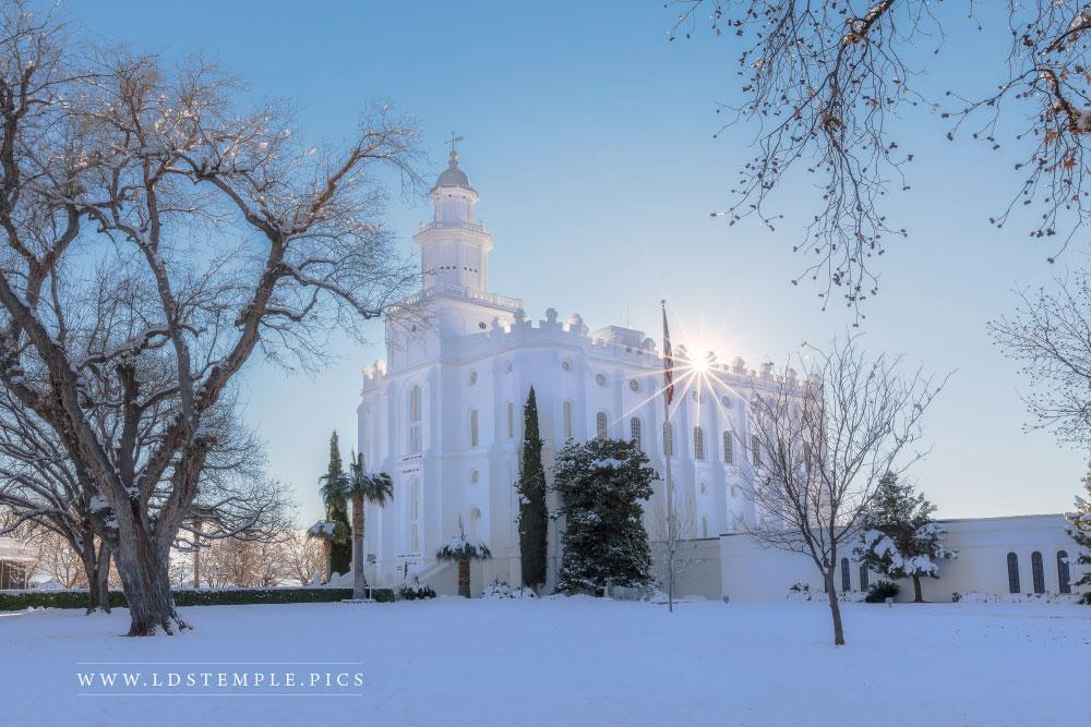 St. George Temple Winter Evening Print