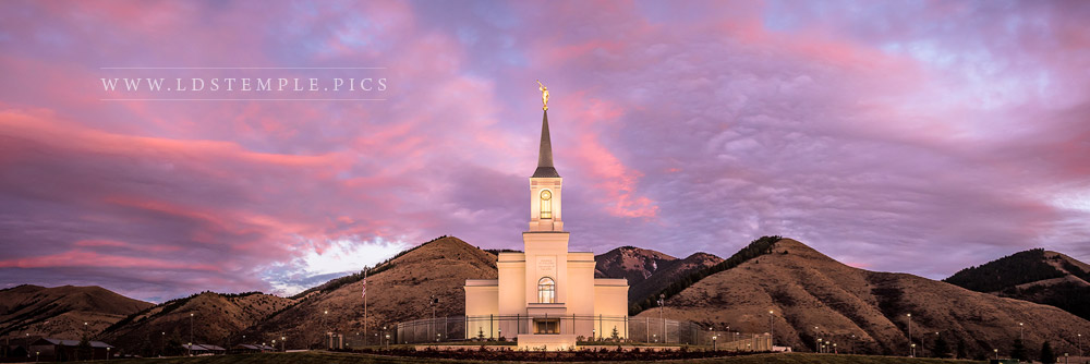 Star Valley Temple Pastel Sunset Panoramic Print