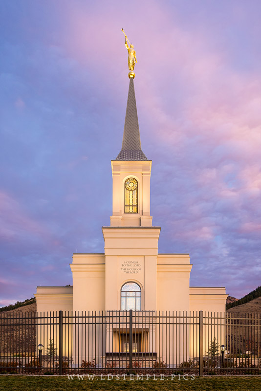 Star Valley Temple Pastel Sunset Vertical Print