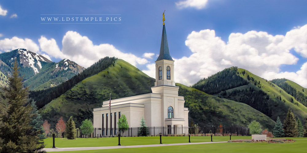 Star Valley Temple Spring Day Painting Print
