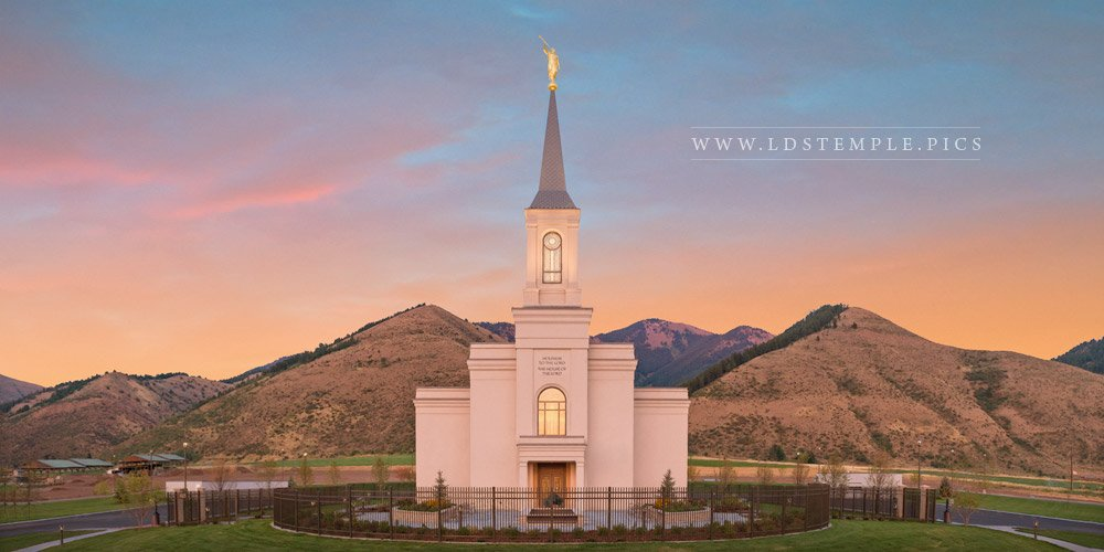 Star Valley Temple Sunrise Panoramic Print