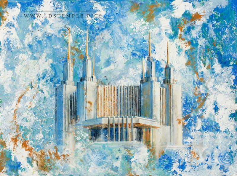 Washington DC Temple Cold Wax Oil Painting Print
