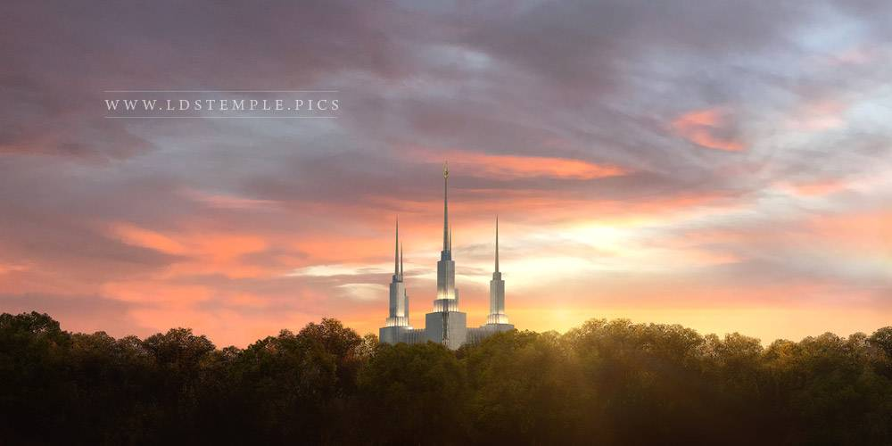 Washington DC Temple Summer Glow Panoramic Print